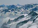 A View of the Swiss Alps from Col Du Chardonnet, Mount Blanc Region Fotografisk tryk af Gordon Wiltsie