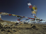 Prayer Flags Blow in the Wind Atop a High Pass on a Tibetan Plateau Photographic Print by Gordon Wiltsie
