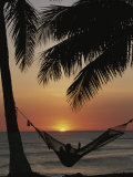 Sunset on Beach with Silhouetted Hammock and Palms, Costa Rica Fotografie-Druck von Michael Melford