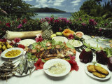 A Table Spread with Fruit and Seafood Prepared in the Local Creole Way Photographic Print by Bill Curtsinger