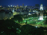 View of Buenos Aires and the Tower of the Englishmen at Night Photographic Print by Pablo Corral Vega
