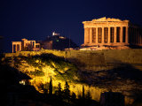 Classic Night View of the Parthenon and Surrounding Acropolis Fotografisk tryk af Richard Nowitz