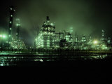 Chemical Plant at Night Photographic Print by George Grall