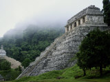 Misty View of the Temple of Inscriptions Photographic Print by Kenneth Garrett