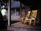 Seaside Cottage with a Pair of Rocking Chairs on its Porch Photographic Print by Melissa Farlow