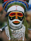 A Tribesman in Full Regalia Glowers During a Festival Photographic Print by Jodi Cobb