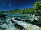 Water Surging over Rocks onto a Palm Tree-Lined Beach Photographic Print by Tim Laman