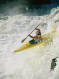 A Kayaker Takes the Plunge Through the Raging Whitewater on the Potomac River Photographic Print by Skip Brown
