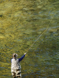 Fly-Fishing on the Wind River Photographic Print by Dugald Bremner