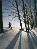 A Cross-Country Skier Blazes a Trail in the Snow Photographic Print by Skip Brown