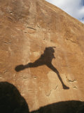 A Hikers Shadow on a Sandstone Wall Photographic Print by Dugald Bremner