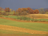 Pastoral View of Rolling Fields and Autumn Foliage Photographic Print by Raymond Gehman