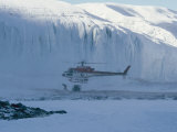 A Helicopter Delivers Supplies to Scientists Working in Antarctica Photographic Print by Maria Stenzel
