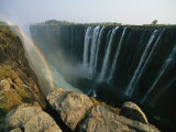 A View of Water Rushing over Victoria Falls Photographic Print by Michael S. Lewis