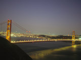 Golden Gate Bridge at Night with City Lights Photographic Print by Mark Cosslett