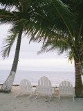 White Beach Chairs Line the Shore of the Caribbean Sea in Belize Impressão fotográfica por Stephen Alvarez