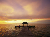 Sunset over the Gulf of Mexico Near Isla Holbox Photographic Print by Michael Melford