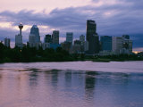 Twilight on the Bow River and Calgary Photographic Print by Michael S. Lewis