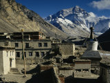 Rongbuk Monastery with Mt. Everest in the Background Photographic Print by Maria Stenzel