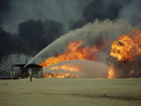 An Oil Field Still in Flames One Year after the End of the Gulf War Photographic Print by Sisse Brimberg