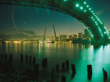 Night View of St. Louis Near the Eads Bridge Photographic Print by Michael S. Lewis