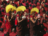 Buddist Monks at Nechung Monastery During Losar Festivities Photographic Print by Maria Stenzel