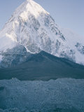 Mount Pumori Seen Behind the Darker Kala Pattar Mountain in the Foreground Photographic Print by Michael Klesius