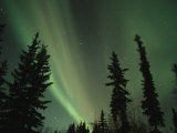 The Northern Lights Illuminate the Evening Sky over North Pole Photographic Print by Maria Stenzel
