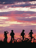 Silhouetted Bikers against a Twilight Sky Photographic Print by David Edwards