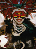 A Tribal Woman Decorated with Beads, Feathers, and Cowries Photographic Print by Jodi Cobb