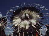 View from Behind of Blood Indians Wearing Tribal Feather Headdresses Photographic Print by Sam Abell