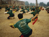 Children Practice Kung Fu in a Field at the Ta Gou Academy Photographic Print by Eightfish