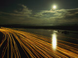 Time Lapse of Lights from Boats Moving on Water Photographic Print by Steve Winter