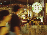 People at One of the First Starbucks Coffee Shops to Open in Beijing Photographic Print by  xPacifica