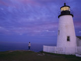 A Lighthouse Visitor Enjoys a Twilight View of the Maine Coast Photographic Print by Stephen St. John
