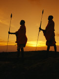 Silhouetted Laikipia Masai Guides on a Bush Safari Photographic Print by Richard Nowitz