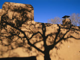 Shadows of Branches Highlight an Adobe Wall in Old Santa Fe Photographic Print by Stephen St. John