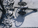 Fresh Snowfall Outlines a Cannon in This Winter View of Gettysburg Photographic Print by Stephen St. John