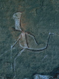 Detail of a San Mural Depicting a Running Man with a Large Head Fotografisk tryk af Kenneth Garrett