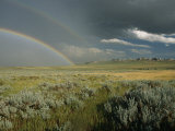 A Double Rainbow Appears Above the Sagebrush in Wyoming Photographic Print by Skip Brown
