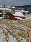 Corn Stubble and Barn in a Wintery Pennsylvania Landscape Photographic Print by Raymond Gehman