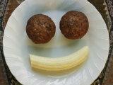 Smiling Breakfast of Muffins and a Banana Photographic Print by Marc Moritsch