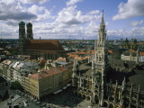 An Aerial View of the Town Hall and the Marienplatz in Munich Photographic Print by Taylor S. Kennedy