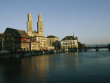 Grossmunster Cathedral and the Limmat River and Bridge in Zurich Photographic Print by David Pluth