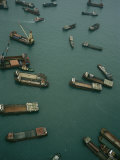 Container Ships in Hong Kong Harbor Waiting for Cargo to Be Loaded Photographic Print by  xPacifica