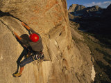 Young Man Climbing the North Tower Crack on Haystack Mountain Photographic Print by Bobby Model