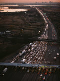 Hundreds of Cars Line up to Pay a Toll on the New Jersey Turnpike Photographic Print by Melissa Farlow