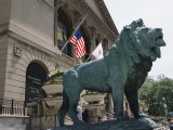 Bronze Lions Stand Guard over the Art Institute of Chicago Entrance Photographic Print by Paul Damien