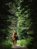 Horseback Riding on an Emerald Lake Lodge Bridle Trail Stampa fotografica di Melford, Michael