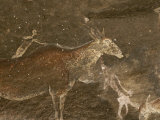 Hunters and Animals in a Cave Painting in the Drakensberg Range Photographic Print by Kenneth Garrett
